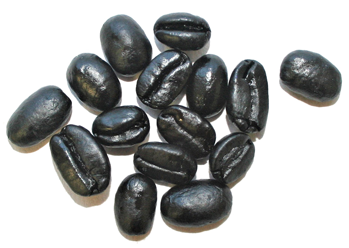 burned coffee beans